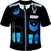 Men's Police T-shirt Black /blue Funny Printed Fancy Dress Costume Outfit