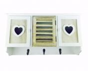 Shabby Chic White Natural Wooden Heart Wall Unit Storage Organiser Hooks Rh2031