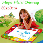 Kids Magic Water Drawing Toy Writing Painting Magic Pen Doodle Mat Board 80x60cm