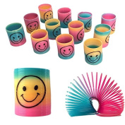 6 Mini Rainbow Smiley Face Springs Slinky Pinata Party Loot Bag Fillers Toy