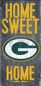 Green Bay Packers Wood Sign - Home Sweet Home 15cm x 30cm