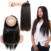 Nobel Hair Brazilian Silk Straight Pre Plucked 360 Lace Frontal Closure With Baby Hair 100% Virgin Human Hair Bleached Knots With 3 Piece Hair Weave Bundles 18 with 20 22 24