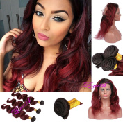 Zenith Wine Red Ombre 360 Wig with 3 Bundles Pre Plucked Best Human Hair Wigs for African American Women Rooted Black Burgundy 360 Full Lace Wig with Baby Hair 60cm 60cm 60cm + 46cm