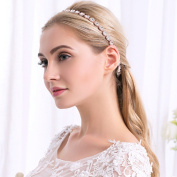 Ammei Rose Gold Bridal Headpiece Wedding Headband with Crystal and Ribbons Hair Jewellery