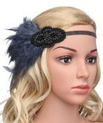 BABEYOND Women's Indian Feather Headband Blue Carnival Headpiece Pageant Headband Flapper Headbands 1920s