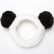 Sea Team Women Fashion Plush Headband Hair Loop Elastic Coral Fleece Hair Band with Cute Pompons for Makeup Shower and Cosplay