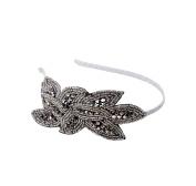 Elle Beaded Flower Floral Headband 43515 Silver