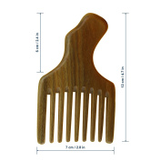 Meta-C Hair/Beard Pick/Comb – Made Of One Whole Piece Of Natural Green Sandal Wood With Fantastic Handle