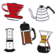 Coffee Cups Hand Rush Chemex T-shirt Scarf Badge Brooch and Pin Diamond for Women 5PIECE