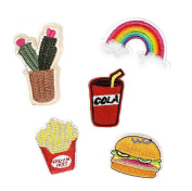 DIY Burger Fries Drink Sequins Embroidery Bag Stickers Buiter Cloth Banner Hook and loop for Children Men Women