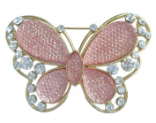Sindary Charming 7.5cm Bright Orange Butterfly Brooch Pin Austrian Crystal Gold Tone UKB5400