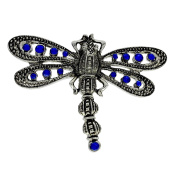 Vintage Large Diamante Blue Sapphire Crystals Dragonfly Brooch - Statement Jewellery