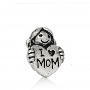 SEXY SPARKLES Women's Girl Holding I Love Mom Heart Charm Bead Spacer Compatible For Most Snake Chain Bracelets