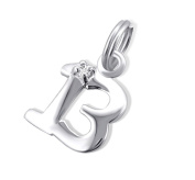 13th Birthday Charm - Sterling Silver - Split Ring - with Cubic Zirconia Stone