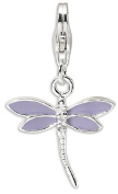 IceCarats 925 Sterling Silver Lilac Enamelled Cubic Zirconia Cz Dragonfly Lobster Clasp Necklace Pendant Charm
