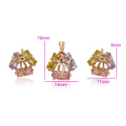XUPING 18K Gold Colour-Plated Happy Life Sets Stud Earrings Necklace Colours Jewellery Sets