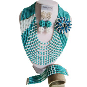 laanc 10 Rows New Season Popular Jewellery Peacock Green And White Nigerian Wedding African Beads Crystal Beads Jewellery Sets A000232