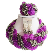 """laanc Nigerian African 6mm Crystal Beads Bracelet 18""""Necklace Collar Purple and Silver"""