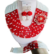 laanc Jewellery 10 rows Red and White Crystal African Beads Nigeria Wedding Party Jewellery sets