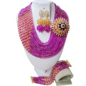 laanc Girls Nigerian Wedding African Beads Jewellery Sets 10 Rows Hot Pink and Gold Champagne Crystal Necklace