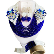laanc girl 10 Rows of Blue and White Crystal Nigerian Wedding African Necklace Bracelet Earrings Jewellery sets