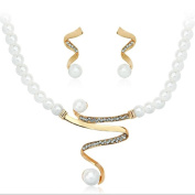 Cream faux pearl necklace with Gold tone twist centre with mathching earrings