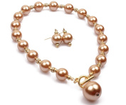 14mm MINK FAUX PEARL & DIAMANTE CRYSTAL RONDELL TOGGLE CHOKER NECKLACE SET