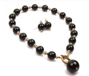 14mm BLACK FAUX PEARL & DIAMANTE CRYSTAL RONDELL TOGGLE CHOKER NECKLACE SET
