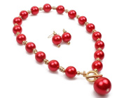 14mm RED FAUX PEARL & DIAMANTE CRYSTAL RONDELL TOGGLE CHOKER NECKLACE SET