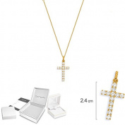 diamantly Baptism Birth Gold Cross Pendant and Chain 40 CM