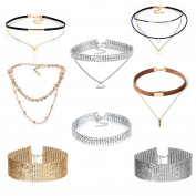 MingJun Rhinestone Sequins Fashion Choker Gold Necklace Set Velvet Leather Choker with Pendants for Women