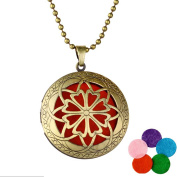 MJARTORIA Women Necklace Flower Pendant Aromatherapy Essential Oil Diffuser Jewellery 61cm with 5 Gaskets