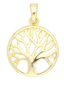 MyGold Tree of Life Pendant Yellow Gold 375/750 Gold earrings Diameter 14 mm Tree Necklace Solid 18 K Gold Chain Botany Mod 07786