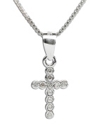 Precious Pieces Girl's Sterling Silver First Communion CZ Cross Necklace, 36cm