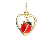 MyGold Ladybird Pendant (without chain yellow gold 333 gold polished heart shaped 18 mm x 12 mm Gold Children's Heart Design Pendant Baby Girl Baptism Christening Gift Lady Beetle Heart V0003676