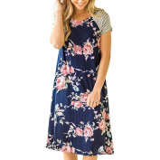 GBSELL Women Floral Print Short Sleeve A-line Loose Casual Dress