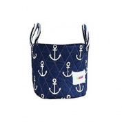 Minene Small Storage Fabric Basket Organiser With Handel Blue Anchor 18x22cm