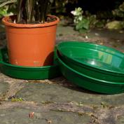 Round Plastic Garden Flower/plant Pot Saucer - Green Base Drip Tray - 16cm