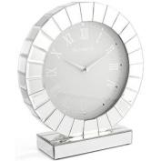 Mirror & Crystals Mirrored Round Mantel Clock Analogue Quartz Time Home Display