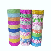 20 Rolls Washi Masking Tape Decorative Craft Tape Collection for DIY and Gift Wrapping with Colourful Designs and Patterns