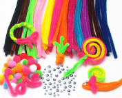 Dandan DIY 200pcs Assorted Colours Pipe Cleaners Sets Including Wiggle eyes and Pom ball Chenille Stem for Pipe Cleaning or Kids Art Craft Diy Handmaking Supply