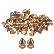 "8mm/0.31"" Dia Solid Brass Tree Spikes Studs Metallic Screwback For Leathercraft Punk Style Pack of 20"