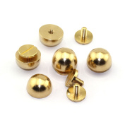 LQ Industrial 25-Pack 1.3cm Purse Handbag Feet Nailhead Round Stud Solid Brass Screw-Back Spike Metal Cone Studs Rivet Leather Craft DIY
