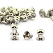 LQ Industrial 30 Pack Silver Round Head Button Stud Slotted Screws 8x10x10mm Chicago Screws Nail Rivet For DIY Leather Craft