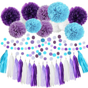 White Purple Lavender Turquoise Tissue Paper Pom Poms Flowers Tissue Tassel Garland Polka Dot Paper Garland Kit and table confetti for Bridal Shower Sea Theme Mermaid Wedding Ball Party Decoration