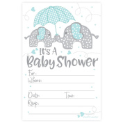 Blue Elephant Boy Baby Shower Invitations (20 Count) with Envelopes