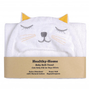 Healthy-Home Hooded Baby Bath Towel.80cm x 90cm ,100% Natural Cotton, Extra Soft and Absorbent for Boy, Girl, Newborn, Infant or Toddler.