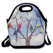 Custom Parrots Reusable Ziplock Crossbody Picnic Bag Design For Office Portable Lunch Box Cooler Back To School Lunch Bag Lunch Tote Bag Box For Boys Girls
