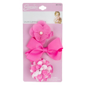 INFANT 3PC BOW & FLOWER SALON CLIP SET