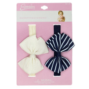 INFANT 2PC STRIPED GROSGRAIN BOW HW